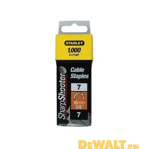 """Скобы для степлера  """"CABLE"""",тип """"7"""", 10мм, для крепления кабеля, в упаковке по 1000шт. 1-CT106T"""
