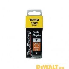 """Скобы для степлера  """"CABLE"""",тип """"7"""", 11мм, для крепления кабеля, в упаковке по 1000шт. 1-CT107T"""